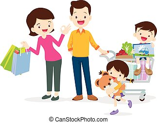 family shopping characters