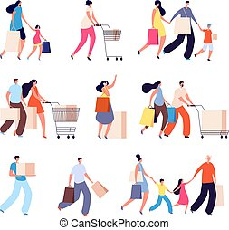 Family shopping. Consumers, woman buy food or clothes. Isolated people with bag for shop. Kids and adult fashion shoppers vector characters