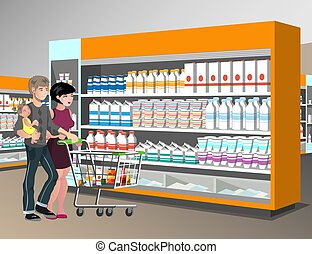 people with trolley supermarket shelves vector illustration