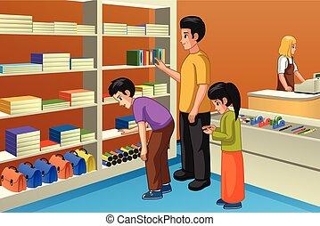 Family Shopping For Back to School Illustration