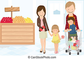 Family shopping grocery - A vector illustration of a family ...