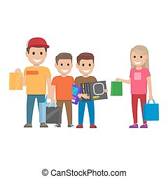 Family Shopping illustration. Shopping Collection