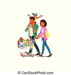 Family Shopping in Grocery Shop Cartoon Vector