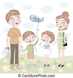 Family Shopping in vector cartoon style.