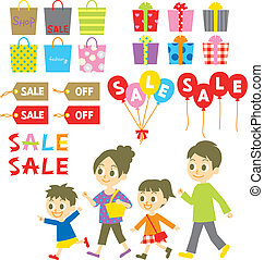 FAMILY shopping, Sale, Price tags