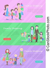 Family Shopping Web Banners Set in Flat Design