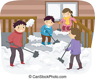 Family Shoveling Snow - Illustration Featuring a Family...