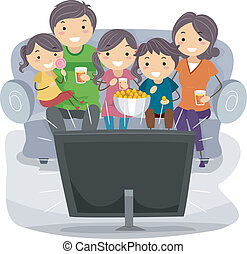 Family Show - Illustration of a Family Watching a TV Show...