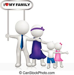 Family sign 3D white people logo