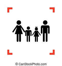 Family sign. Black icon in focus corners on white background. Is