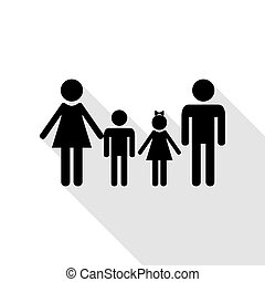 Family sign. Black icon with flat style shadow path.