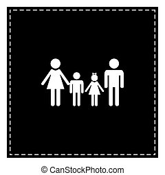 Family sign. Black patch on white background. Isolated.