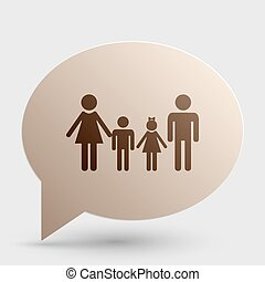Family sign. Brown gradient icon on bubble with shadow.