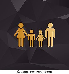 Family sign. Golden style on background with polygons.