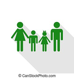 Family sign. Green icon with flat style shadow path.