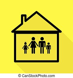 Family sign illustration. Black icon with flat style shadow path on yellow background.