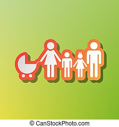 Family sign illustration. Contrast icon with reddish stroke on green backgound.