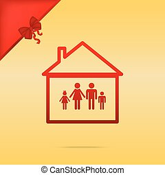 Family sign illustration. Cristmas design red icon on gold background.