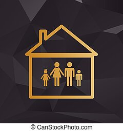 Family sign illustration. Golden style on background with polygons.