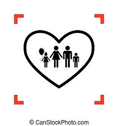 Family sign illustration in heart shape. Black icon in focus cor