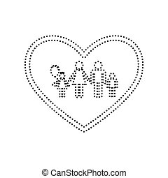 Family sign illustration in heart shape. Vector. Black dotted icon on white background. Isolated.