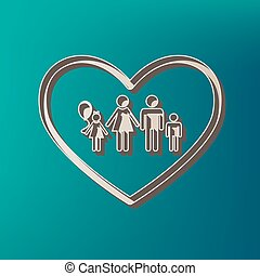 Family sign illustration in heart shape. Vector. Icon printed at 3d on sea color background.