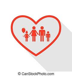 Family sign illustration in heart shape. Red icon with flat style shadow path.