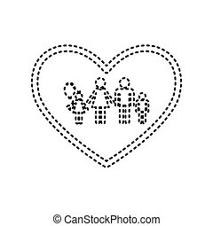 Family sign illustration in heart shape. Vector. Black dashed icon on white background. Isolated.