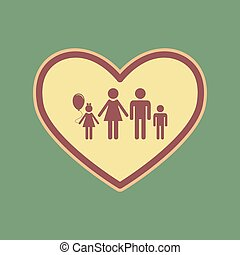Family sign illustration in heart shape. Vector. Cordovan icon a