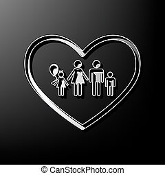 Family sign illustration in heart shape. Vector. Gray 3d printed icon on black background.