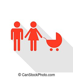Family sign illustration. Red icon with flat style shadow path.