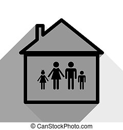 Family sign illustration. Vector. Black icon with two flat gray shadows on white background.