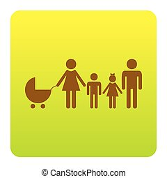 Family sign illustration. Vector. Brown icon at green-yellow gradient square with rounded corners on white background. Isolated.