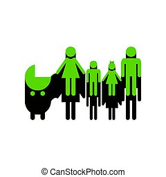 Family sign illustration. Vector. Green 3d icon with black side