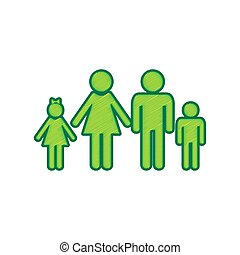 Family sign illustration. Vector. Lemon scribble icon on white background. Isolated