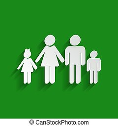 Family sign illustration. Vector. Paper whitish icon with soft shadow on green background.