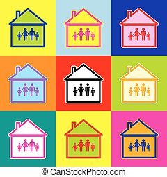Family sign illustration. Vector. Pop-art style colorful icons set with 3 colors.