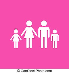 Family sign illustration. White icon at magenta background.