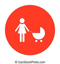 Family sign illustration. White icon on red circle.
