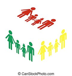 Family sign. Isometric style of red, green and yellow icon.