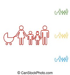 Family sign. Set of line icons