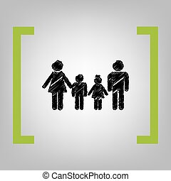 Family sign. Vector. Black scribble icon in citron brackets on grayish background.