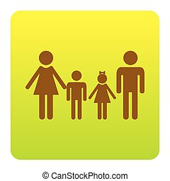 Family sign. Vector. Brown icon at green-yellow gradient square with rounded corners on white background. Isolated.