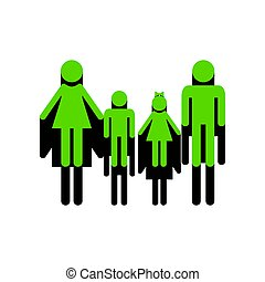 Family sign. Vector. Green 3d icon with black side on white back