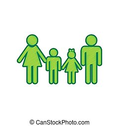 Family sign. Vector. Lemon scribble icon on white background. Isolated