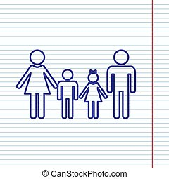 Family sign. Vector. Navy line icon on notebook paper as background with red line for field.