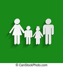 Family sign. Vector. Paper whitish icon with soft shadow on green background.