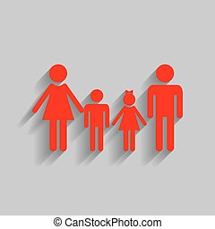 Family sign. Vector. Red icon with soft shadow on gray background.