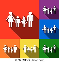 Family sign. Vector. Set of icons with flat shadows at red, orange, yellow, green, blue and violet background.