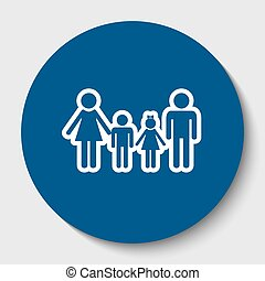Family sign. Vector. White contour icon in dark cerulean circle at white background. Isolated.